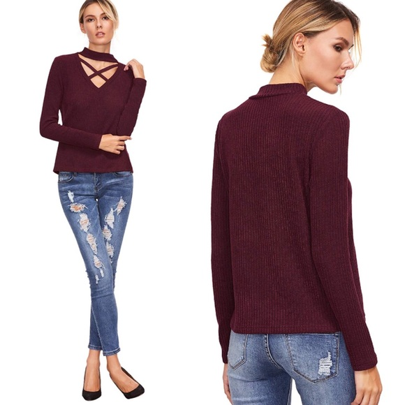 0d7b58a7284069 Criss Cross Front Long Sleeve Choker Top Burgundy